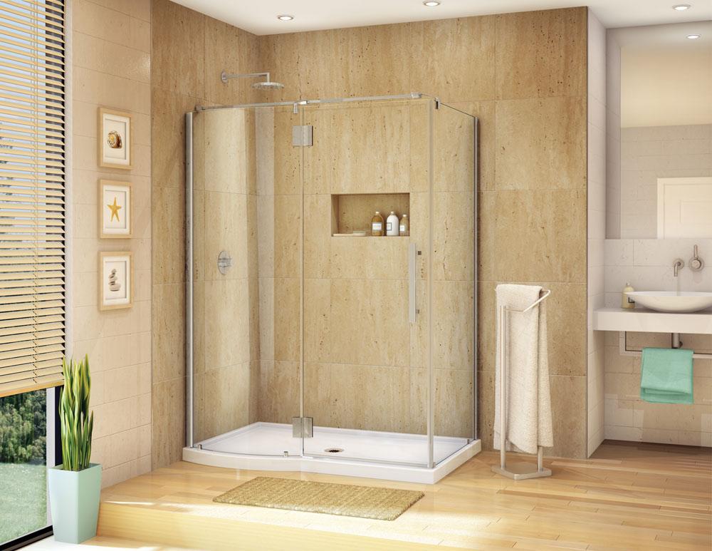 home remodeling for the disabled or elderly. Corner walk in shower displayed.